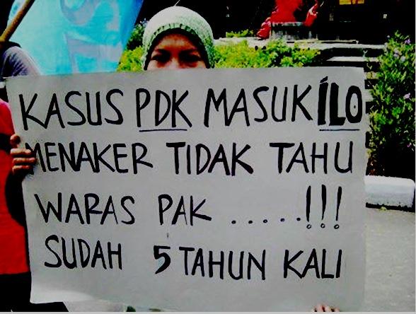 Foto: Aksi piket Minggu dan Kamis buruh PT Panarub Dwikarya Benoa di Tangerang Banten merespons teguran Pemerintah Indonesia. (Sumber: PTP SBGTS GSBI PT PDK, 2016)